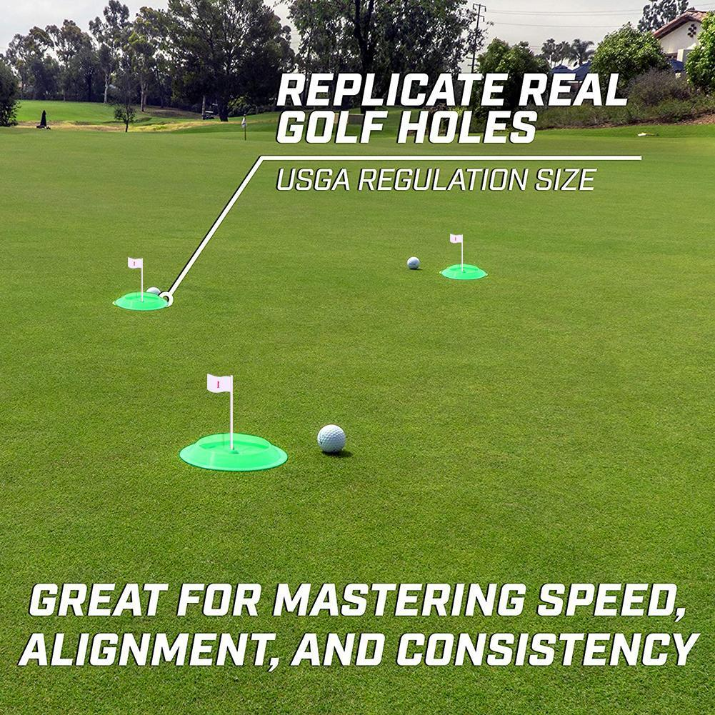 Green All-Direction Golf Putting Cup Soft Rubber Practice Outdoor Training Tool Green Hole Putter Flag Indoor O1X1