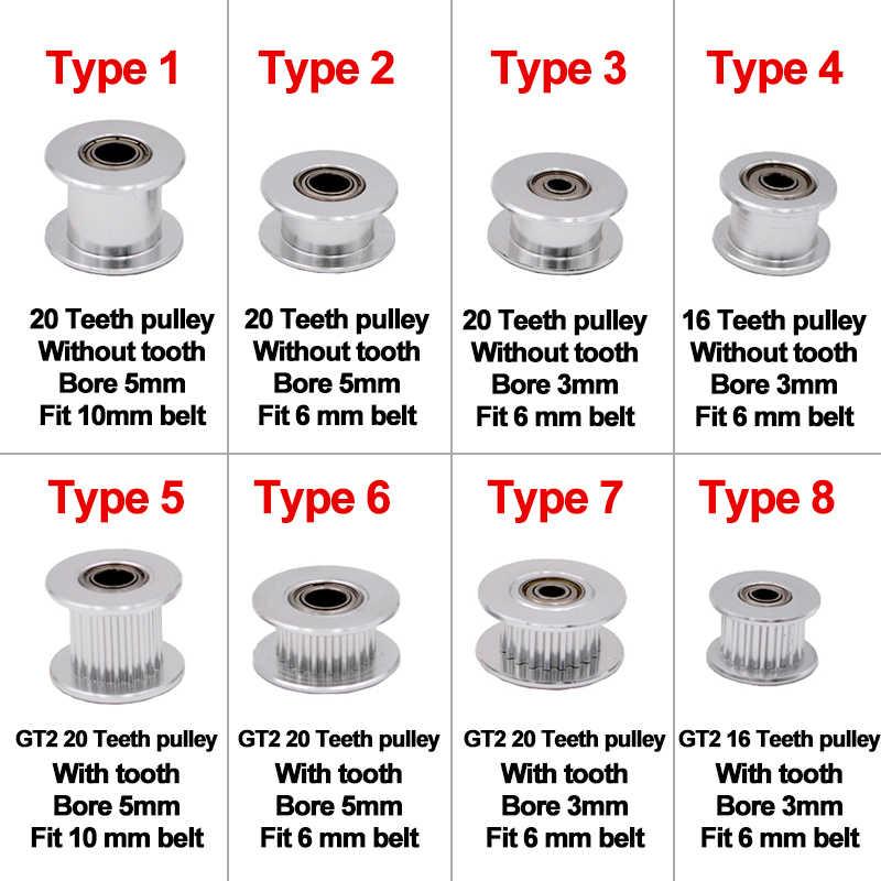 A polia cronometrando 16-dentes 20-dentes do idler de gt2 com furo de 3mm ou de 5mm com rolamentos para a impressora 3d parte a correia cronometrando 6mm 10mm