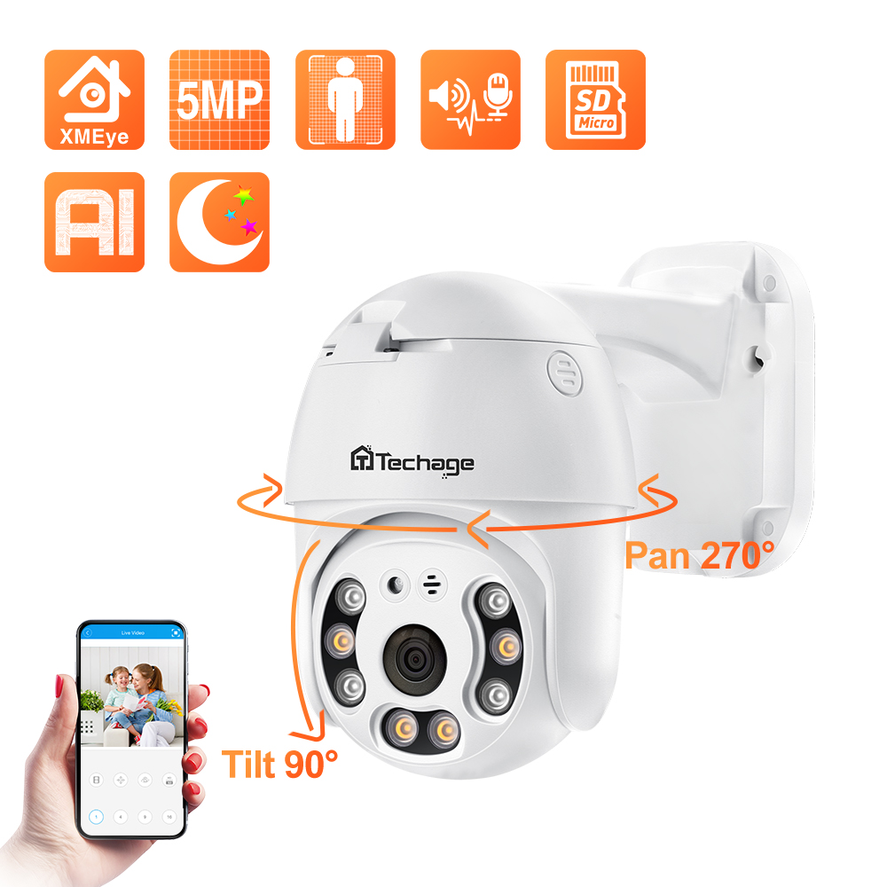 Techage 1080P POE kamera IP na zewnątrz wodoodporna 2 sposób kamera Audio AI ludzkie wykrywania kamera ochrony Xmeye ONVIF dla System NVR,Pełnokolorowe widzenie nocne