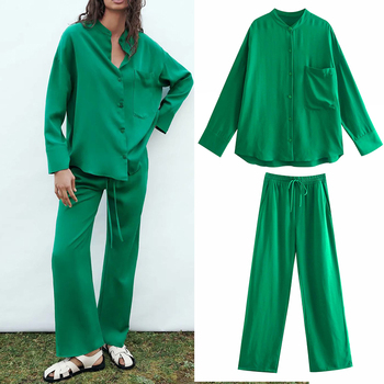 Za suit women suit 2-piece suit pants suit 2021 new fashion printing straight leg women suits casual chic street youth suits 1