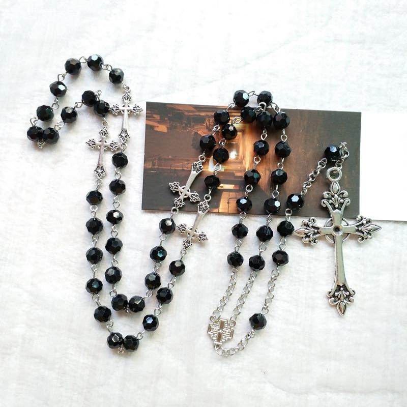QIGO черный хрустальные четки ожерелье длинный крест кулон для мужчин и женщин, религиозное Ювелирное Украшение