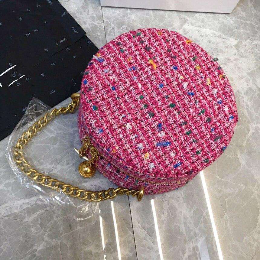 2019 Fashion Ronde Tas Vrouwen Circular Bag Vrouwelijke Schouder Crossbody Tas met Ketting Bell Sterren Geweven Handtas Vrouw Party Purse