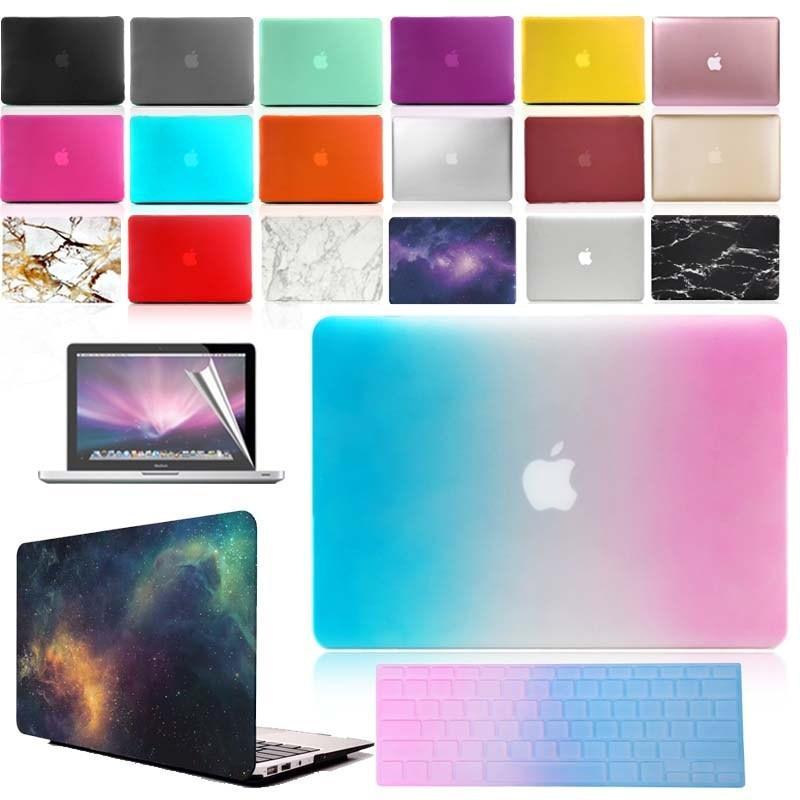Kk & ll fosco escudo duro caso protetor do portátil + teclado capa + tela para apple macbook ar pro retina 11 12 13 15
