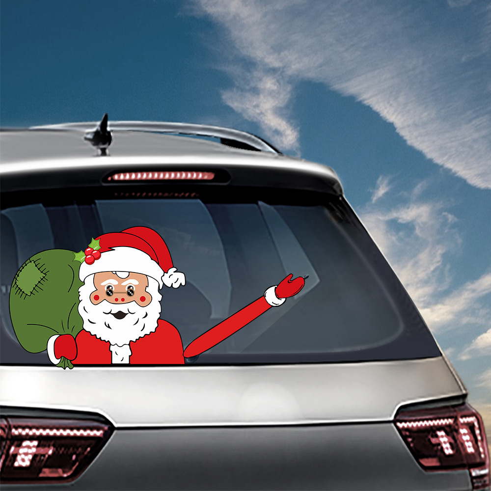 Car Stickers Christmas Decoration Santa Claus 3D PVC Waving Car Stickers Styling Window Wiper Decals Rear Windshield Decoration (6)