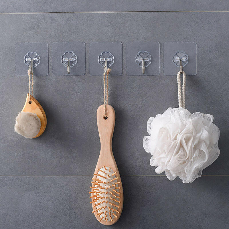 20x Self Adhesive Hooks Wall Door Plastic Strong Sticky Sucker Holder Removable