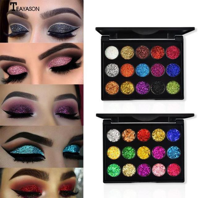15 Color Diamond Sequins Lasting Eyeshadow Tray Glitter Powder Waterproof Eye Shadow Palette Stage Sequins Eye Makeup TSLM2 2