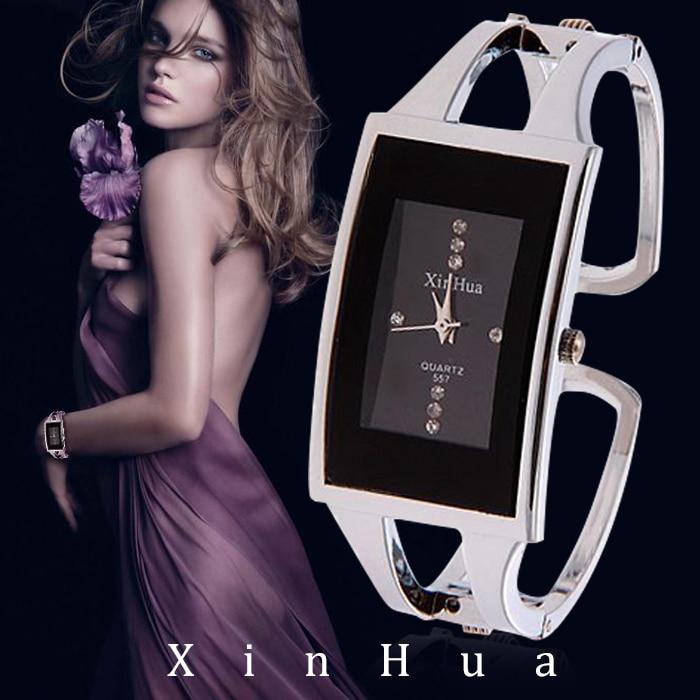 Women Bracelet Watch XINHUA Quartz Wristwatch Crystal Fashion Silver Casual Drop Ship Stainless Steel Relojes Mujer Bangle Clock