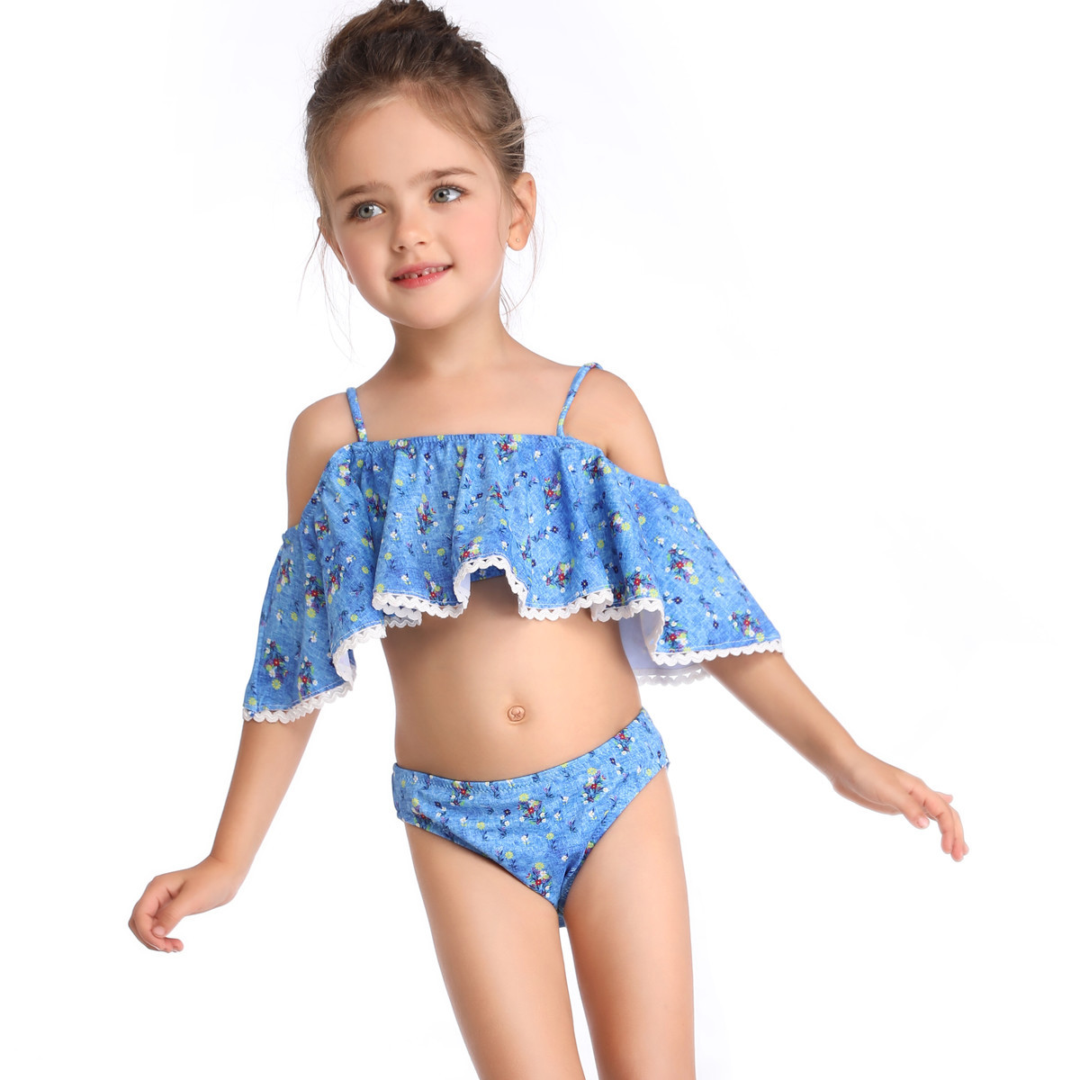 2019 Europe And America GIRL'S Swimsuit Off-Shoulder Children Split Type Flounced Camisole KID'S Swimwear Hot Selling