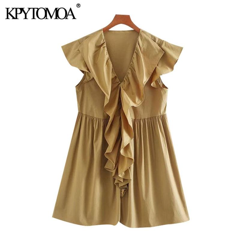 KPYTOMOA Women 2020 Chic Fashion Ruffled Pleated Mini Dress Vintage V Neck Sleeveless Female Dresses Vestidos Mujer