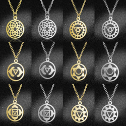 Geometric 7 Chakra Charm Necklaces Wholesale 100% Stainless Steel Yoga Lotus Women Jewelry Necklace Dropshipping