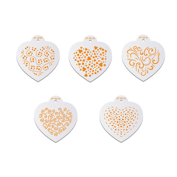 Mini Heart Shape Cookies Stencil Coffee Stencils Template Valentine's Day Cake Mold Cake Decorating Tools Bakery Accessories image