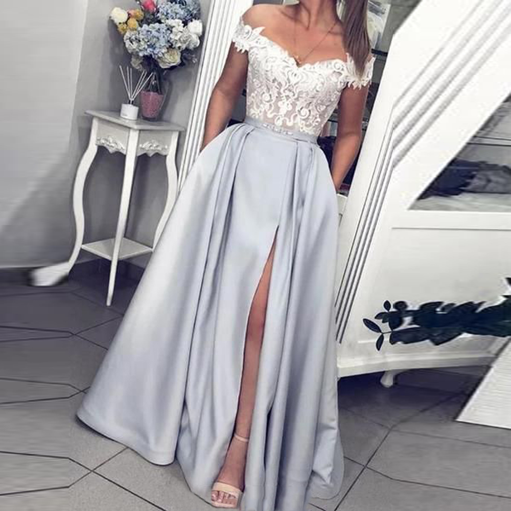 BEPEITHY Off The Shoulder Long Evening Dress Lace Bodice Vintage Sweetheart Formal Gown With Pocket Vestido De Festa Prom Dress