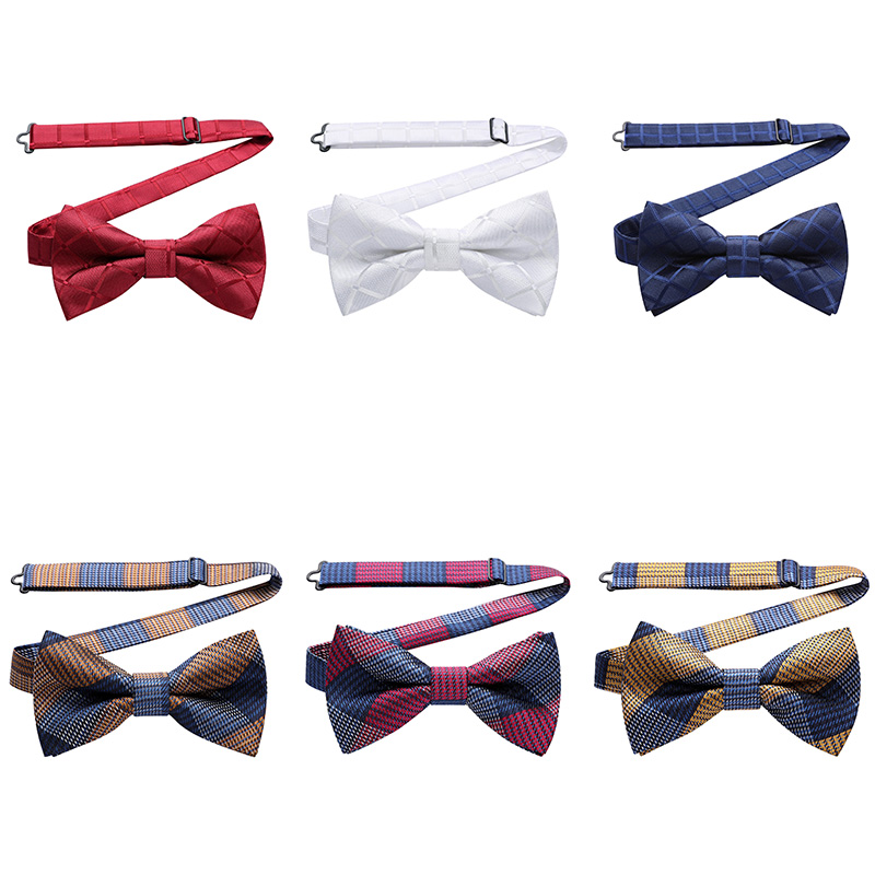 HISDERN Pre Tied Bow Tie Check Plaid Men Adjustable Formal Wedding Party Classic Butterfly
