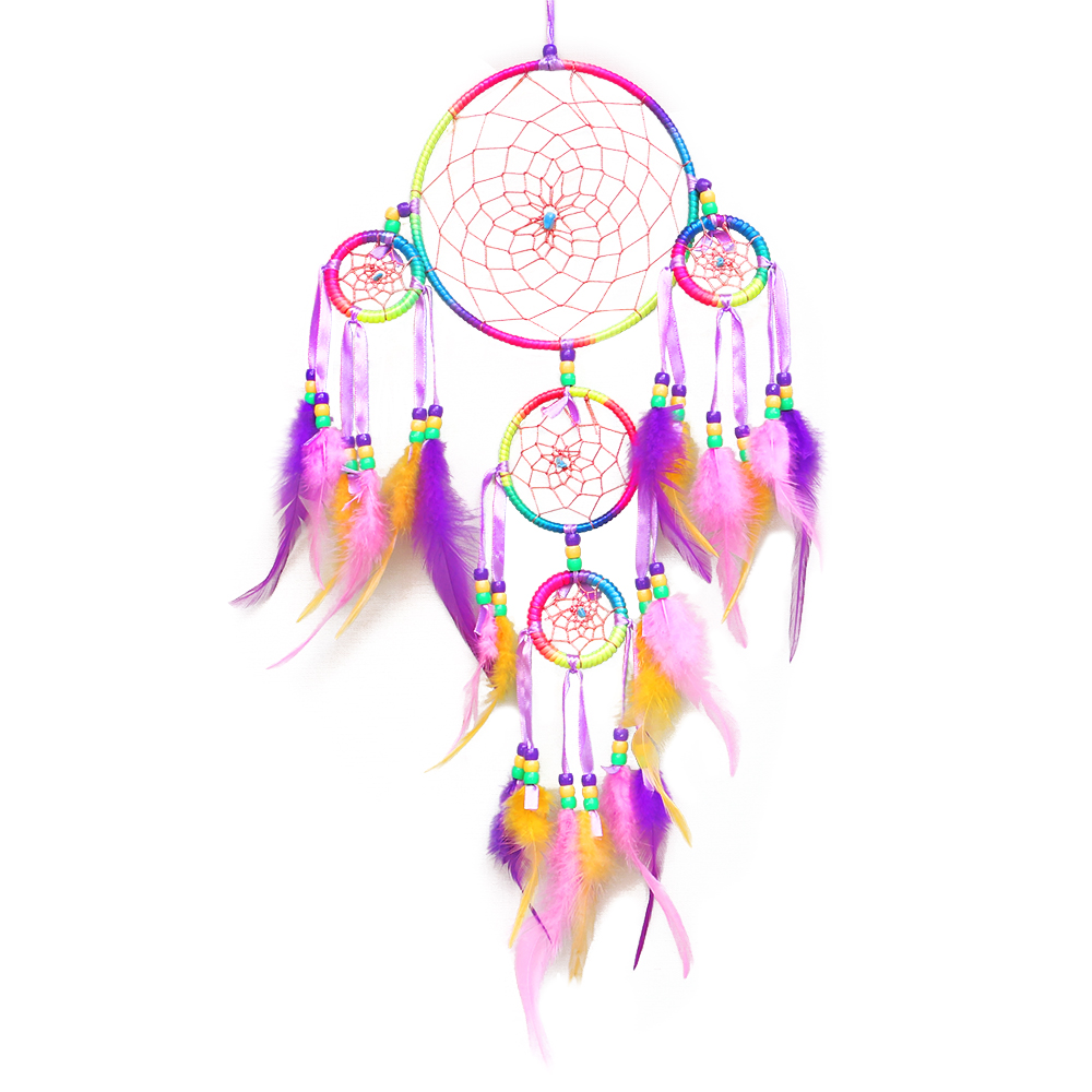 - 32 Colors Handmade Room Decoration Dreamcatcher, Rainbow Feather