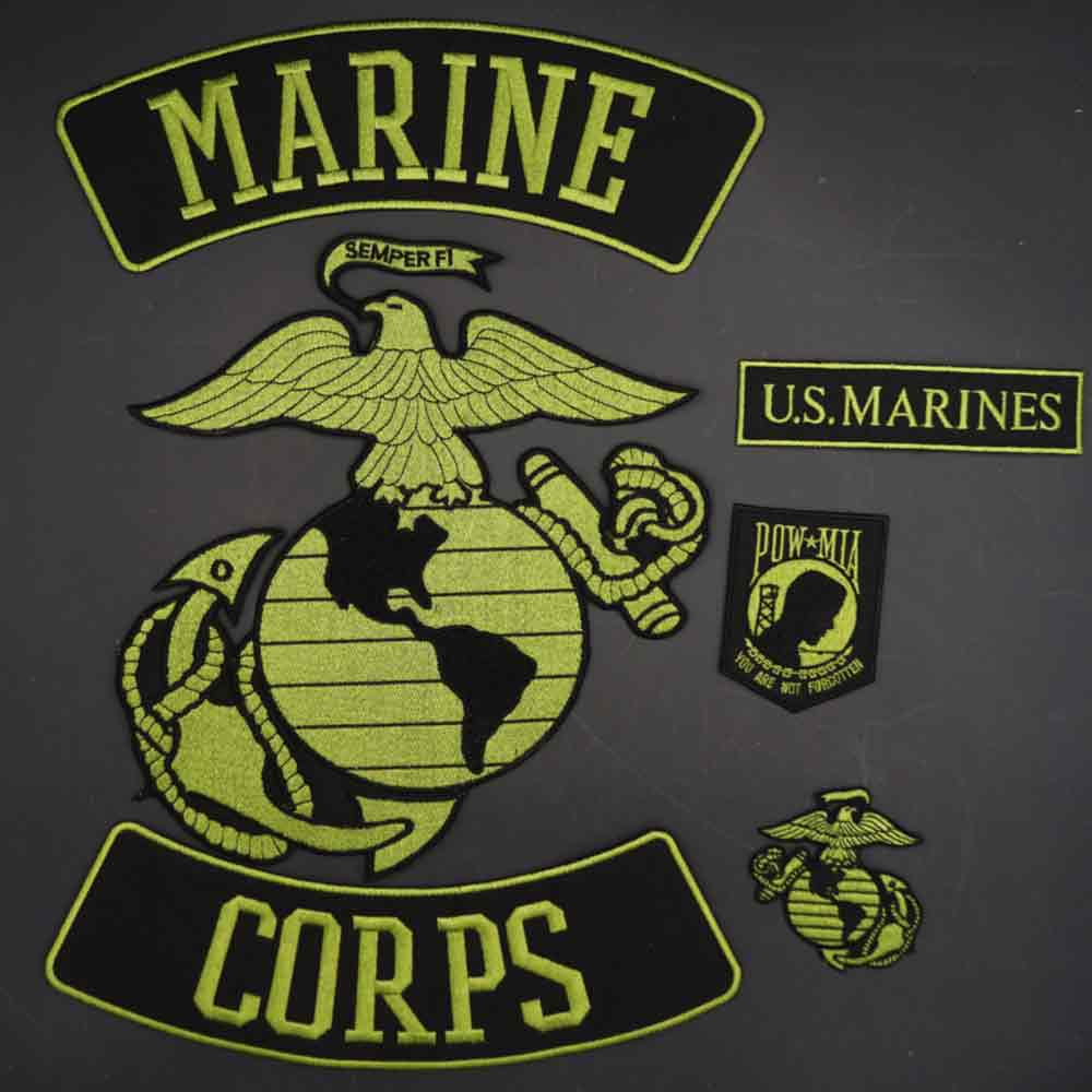 Marine Corps US embroidery motorcycle biker patch Clothes Stickers Apparel Accessories Badge iron on backing
