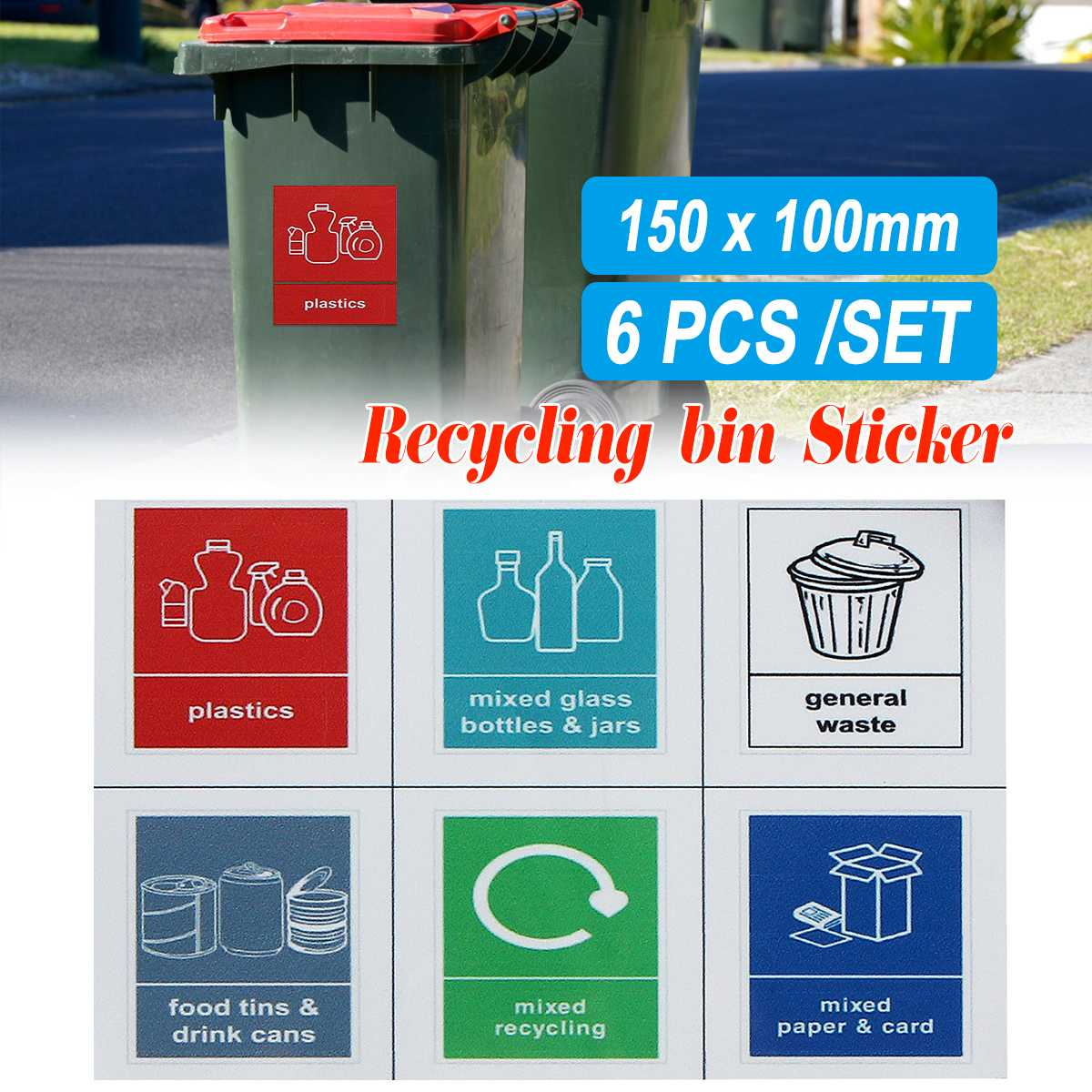 Self adhesive sticker 150mm x 100mm Mixed Glass Recycling Sign Sticker