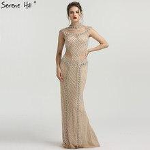 Расшитый бисером цвета шампань вырез Русалочка платья для торжеств Дубай без рукавов Роскошные вечерние платья Длинные Serene Хилл BLA6551