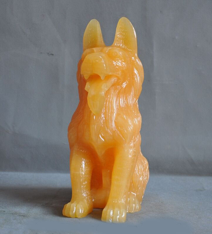 Wedding Decoration China Natural Yellow Jade Carved Lucky Zodiac Guardian Dog Dogs Wolfhound Statue