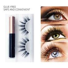 1 Pair Magnetic Eyeliner with False Eyelashes Kit No Glue Lashes Waterproof Liquid Long Lasting