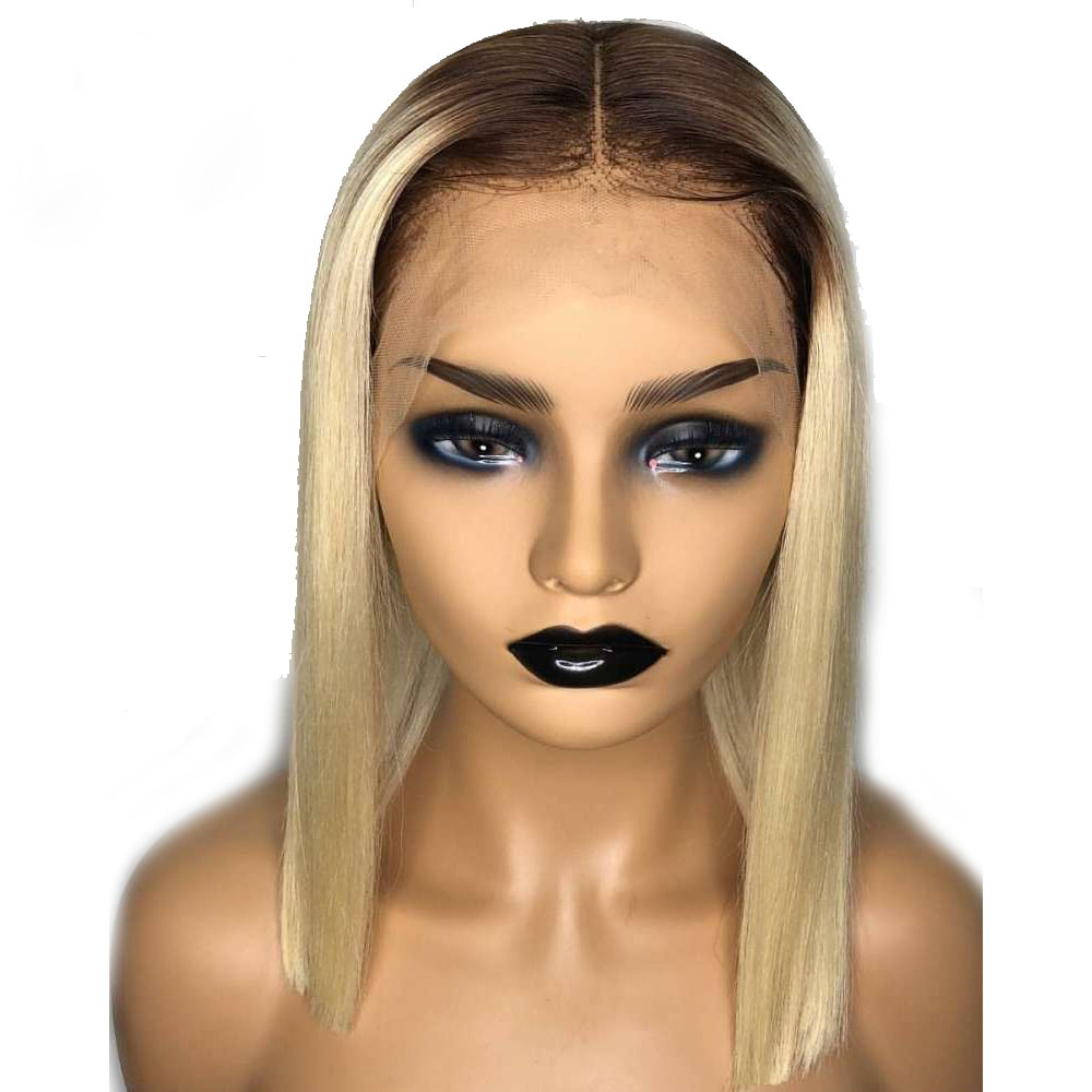 Eversilky 4/613 Dark Roots Honey Blonde Short Bob 13X4 Lace Front Human Hair Wig Pre Plucked Brazilian Remy Ombre With Baby Hair
