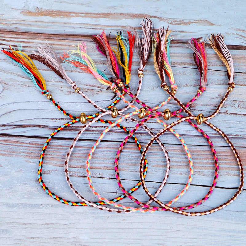 16 cores Tibetano Corda de Algodão Cobre Contas Borla Pulseira Pulseira Tamanho Ajustável
