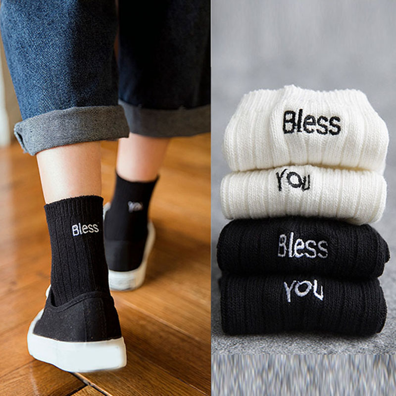 Hot Fashion Women Socks Cotton Cute Letter Funny Bless You Print Skateboard Socks White Black Cotton Ankle Socks Dropshipping
