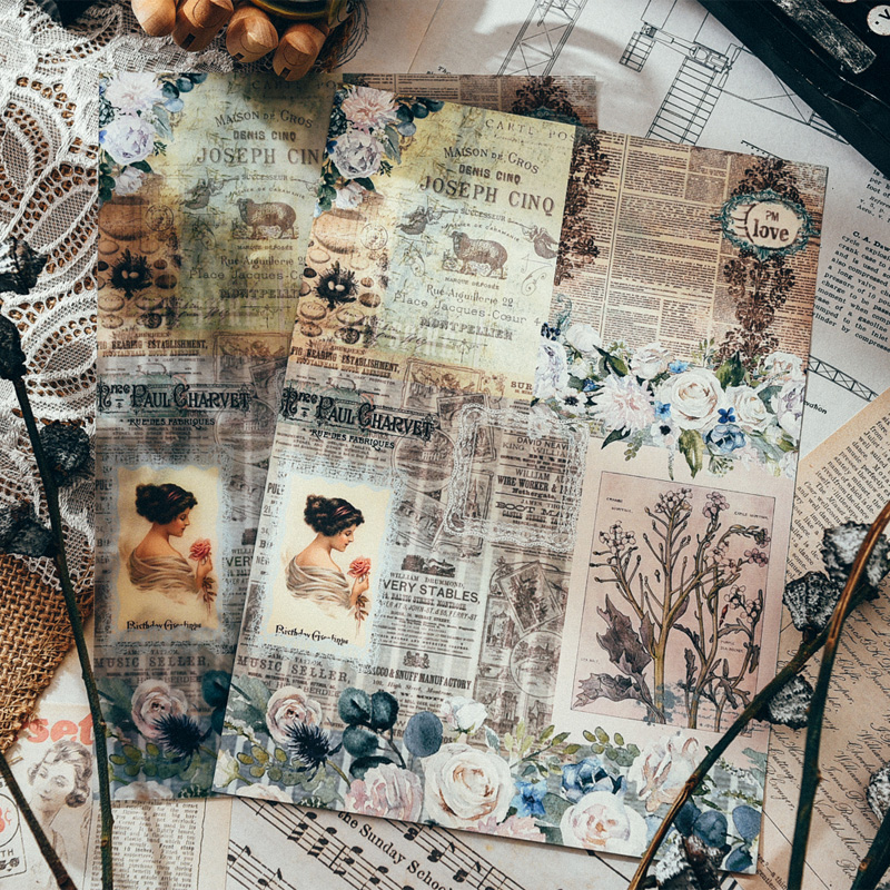 Nikier Vintage Newspaper Material Background Set For Scrapbooking DIY Projects Photo Album Crafts Diary Label Stationery Paper