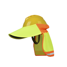 Sun-Shade Visor Hard-Hat-Accessories Reflective Neck with Yellow Hi-Vis