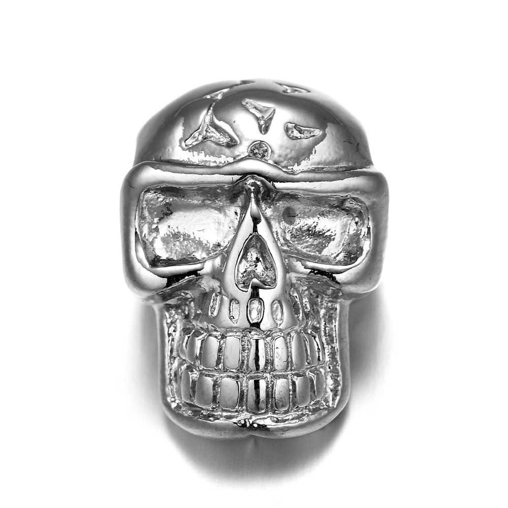 REAMOR معدن جمجمة خزر عازل 316L صلب الذى لا يصدأ سوار إكسسوارات مطرز دلايات لصنع المجوهرات