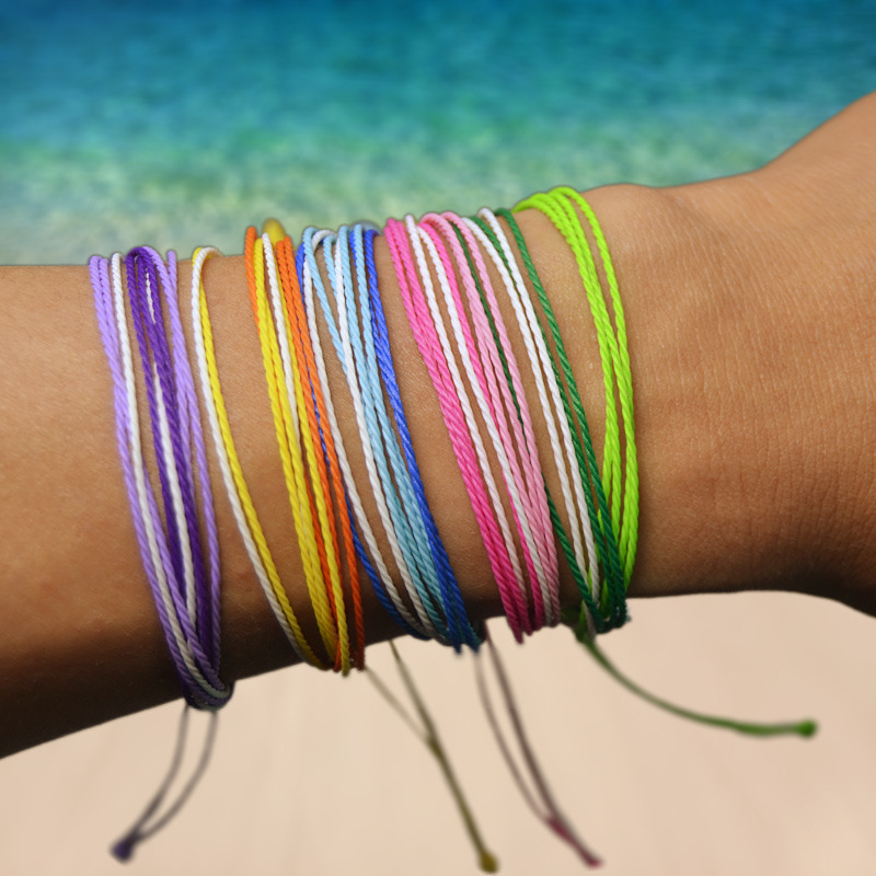 23 Colors Bohemian Handmade Multi-layer Color Lucky Cotton Rope Waterproof Bracelet Female Sunshine Beach Surfing Jewelry Gift