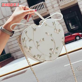 New 2020 Women Heart Shaped Shoulder Bag PU Leather Tote Purse Handbag Chain Messenger Crossbody Polyester Bags Phone Bags novelty flamingo shaped crossbody bag