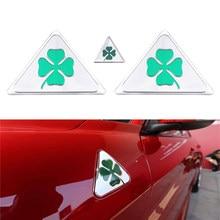3 pçs verde trevo delta lado do carro fender emblema adesivo para alfa romeo giulietta giulia aranha gt estilo do carro acessórios