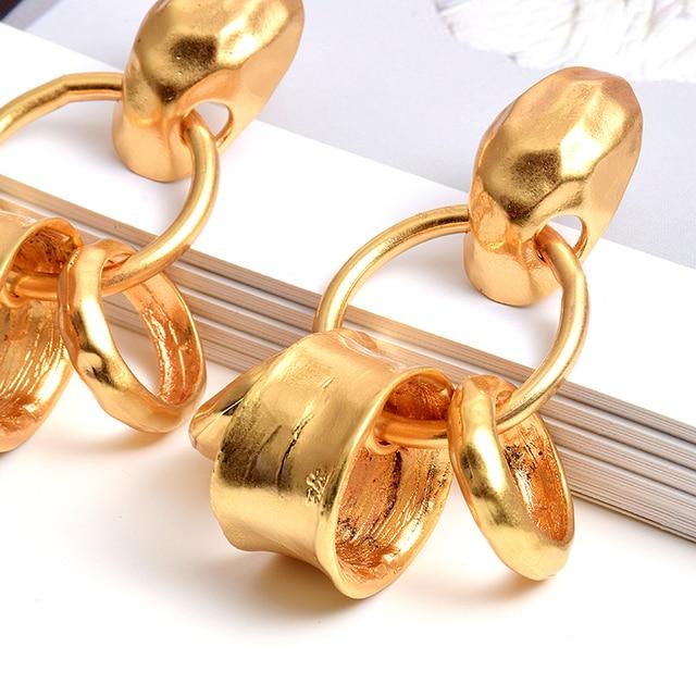 Metal Long Hoops Drop Earrings  5