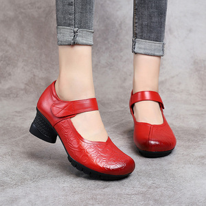 Image 4 - GKTINOO 2020 Vintage Women Pumps Comfortable Genuine Leather High Heel Shoes Women Round Toe Casual Thick Heel Mother Shoes