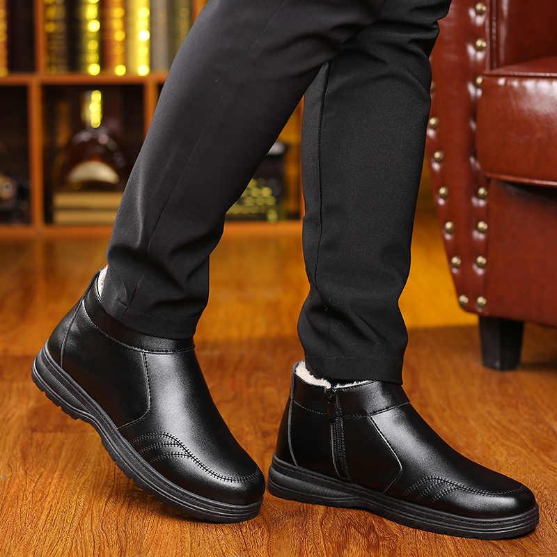 VESONAL/2019; теплые кожаные высокие мужские ботинки на молнии; зимняя обувь; сезон осень-зима; меховая плюшевая классическая мужская повседневная обувь; кроссовки; обувь