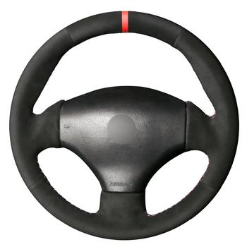 Czarny zamsz ręcznie szyta osłona na kierownicę do samochodu Peugeot 206 1998-2005 206 SW 2003-2005 206 CC 2004 2005 tanie i dobre opinie CN (pochodzenie) Kierownice i piasty kierownicy
