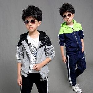 Image 1 - 男の子春秋ジョギングジャージ男の赤ちゃんフード付きジャケット + パンツスポーツスーツ子供服セット 120 〜 160