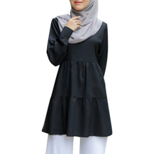 Muslim Fashion Tops Casual-Top Long-Shirts Women for Black White Solid-Color New
