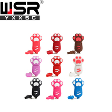 Cartoon Cat Paw mini  usb2.0 pen drive  32gb  64gb black/red/pink/blue/white usb memory drive 4gb 8gb 16gb variety of color gift
