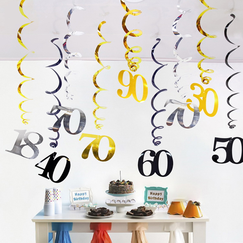 6pcs/pack Numeral spiral <font><b>18</b></font> 21 30 40 50 60 70 80 <font><b>90</b></font> Years Old Birthday Spiral Hanging Ornaments Black Gold Silver birthday Decor image