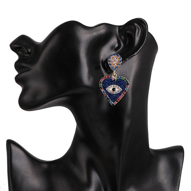 New Style Jewelry Women European Fashion Earrings Statement Heart Shape Big Rhinestone Crystal Eyes Earrings Gifts For Girls