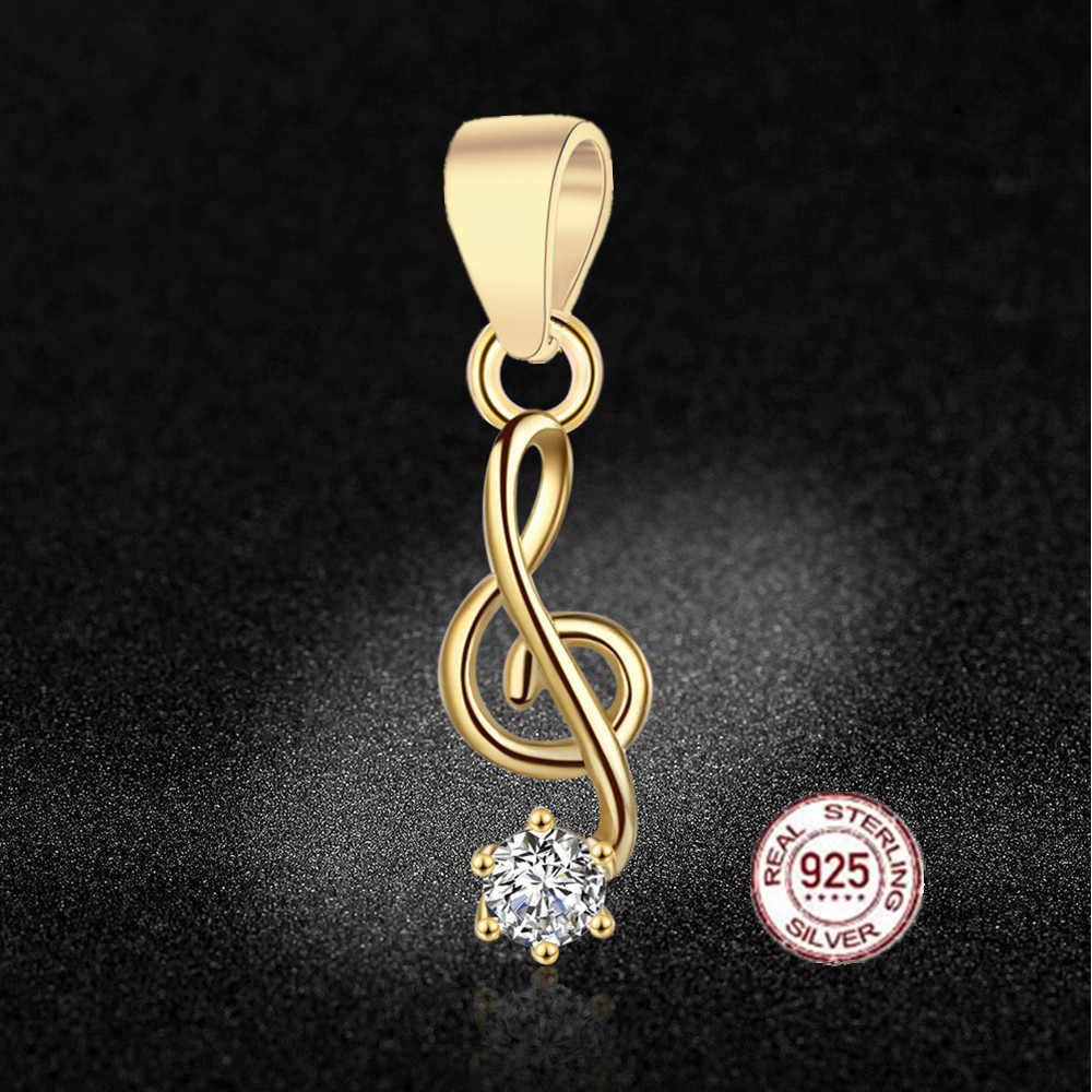 HMSFELY 925 Plata de Ley encanto música símbolo colgante DIY cuentas pulsera accesorios ritmo colgantes para mujer collar joyería hacer