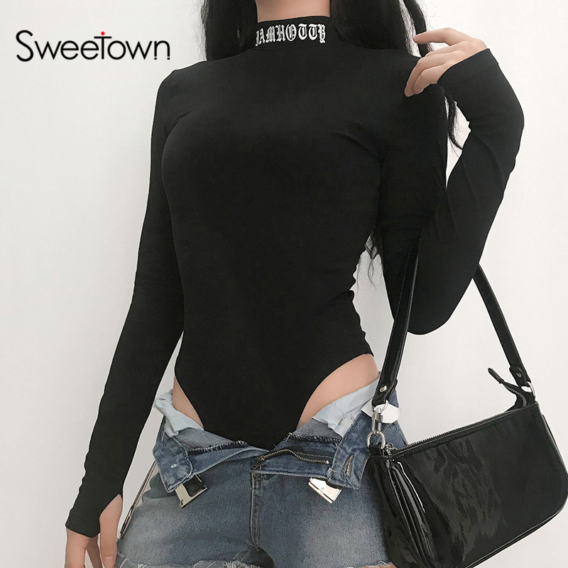 Sweetown Fall 2020 Black Long Sleeve Bodysuit Back Hollow Sexy Party Body Suits For Women Letter Print Turtleneck Bodycon Romper
