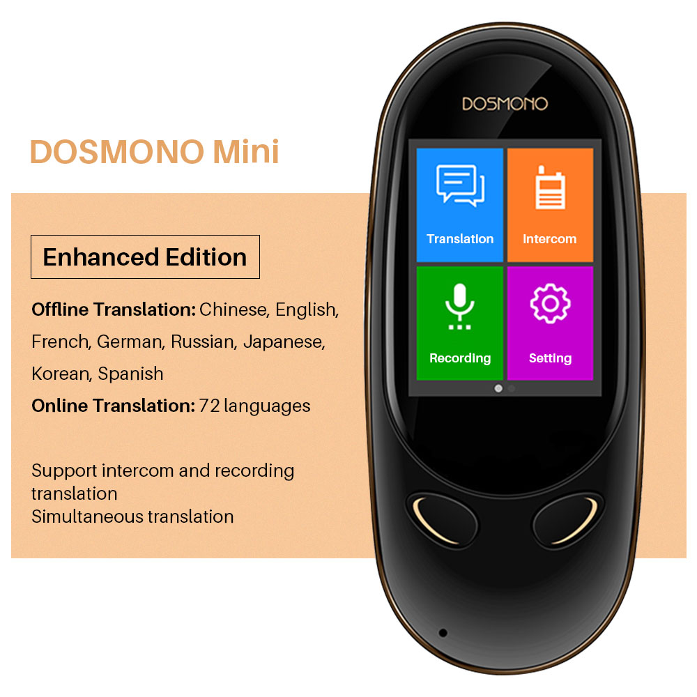 Portable Voice Translator DOSMONO Offline Translation 8 Language Two-way Tradutor English Japanese Korean German Russian Spanish