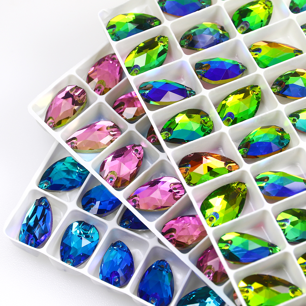 Drop Strass Crystals Glass Sew On Rhinestones Flatback Crystal Glitter Sewing Rhinestone Applique For Needlework Clothes Dress