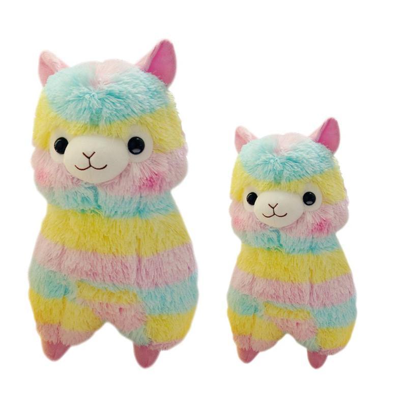 Soft Cotton Stripes Rainbow Alpaca Plush Toy Sheep Stuffed Doll Pendant