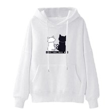 Women Autumn Winter Hooded Hoodie  Casual Sweatshirt Ladies Baggy Cat Jumper Pullover Tops 7.29