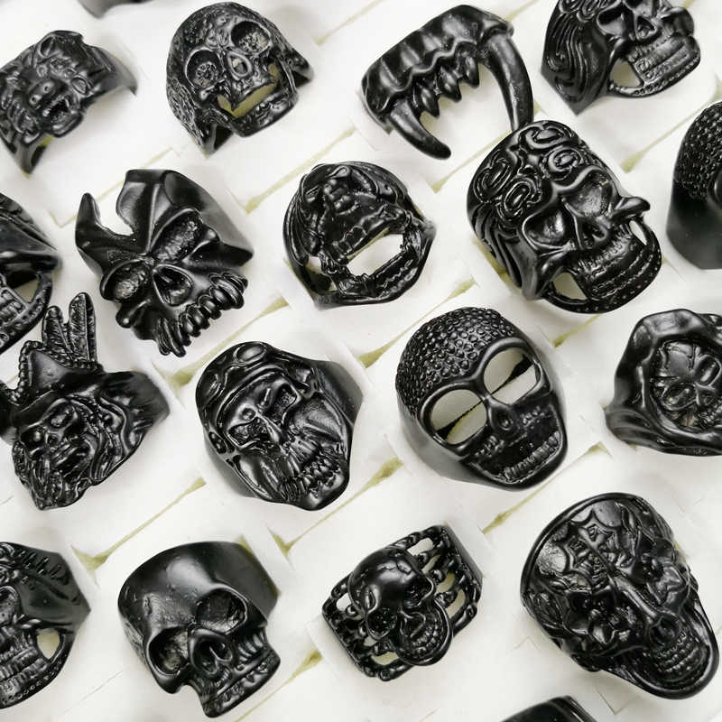 5Pcs New Cool Men's Skull Skeleton Gothic Biker Rings Men Rock Punk Ring Party Favor Wholesale Jewelry Lots Top Quality LR4107