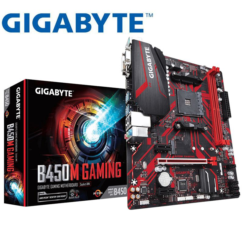 New Gigabyte GA B450M GAMING Desktop Motherboard For AMD B450 /2-DDR4 DIMM /M.2 /USB3.1 /Micro-ATX /New / Max-32G Channel AM4