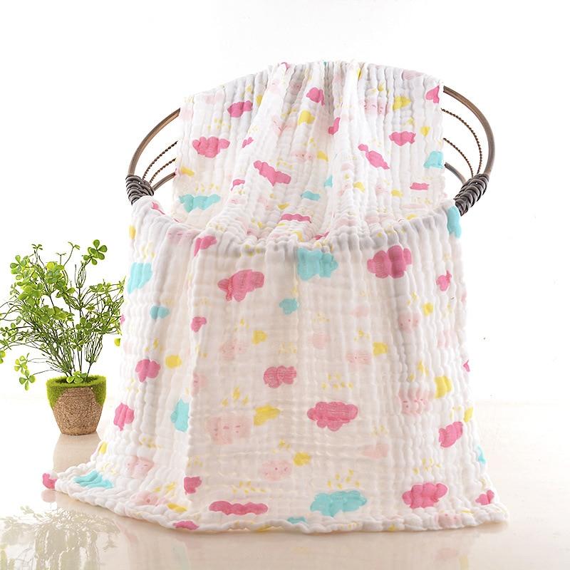 Nan Ze BABY'S Bath Towel 70*140 Baby Textile Cartoon Printed Pure Cotton Six-layer Gauze Baby Bath Towel